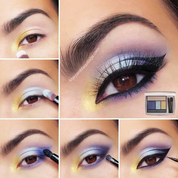 Весенний макияж с желтым и сиреневым – Макияж #8