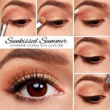 Макияж для карих глаз с золотыми тенями – Макияж #2