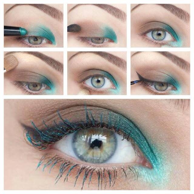 макияж глаз с мятным и коричневым