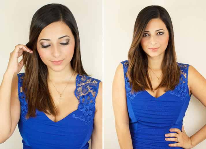 Вечерний макияж под синее платье