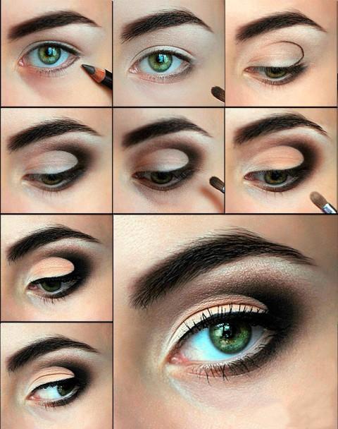 пошаговый черный макияж глаз