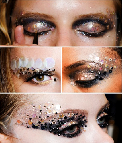 макияж с кристаллами и стразами