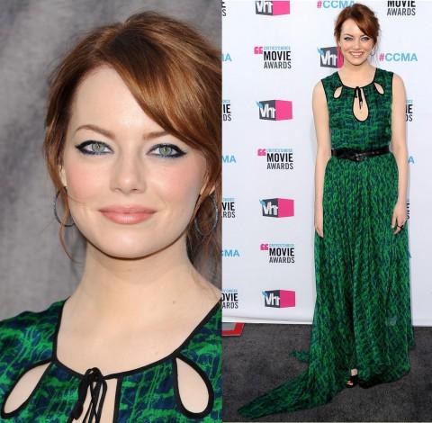 Макияж под зеленое платье для голубых глаз