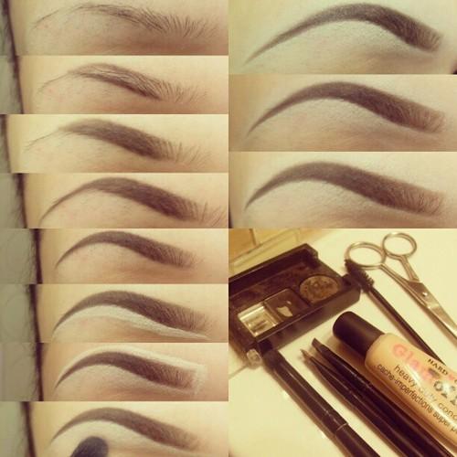Поэтапный макияж бровей фото