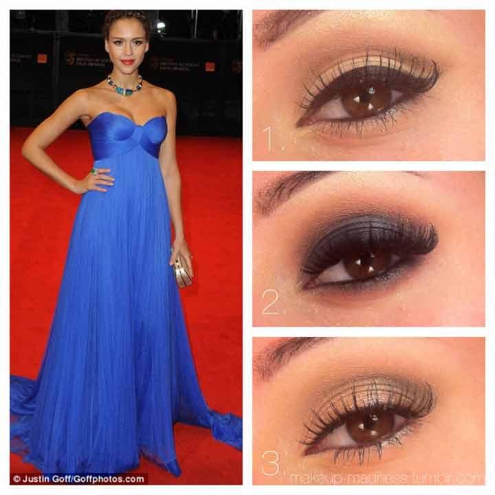 Фото макияжа для карих глаз под синее платье