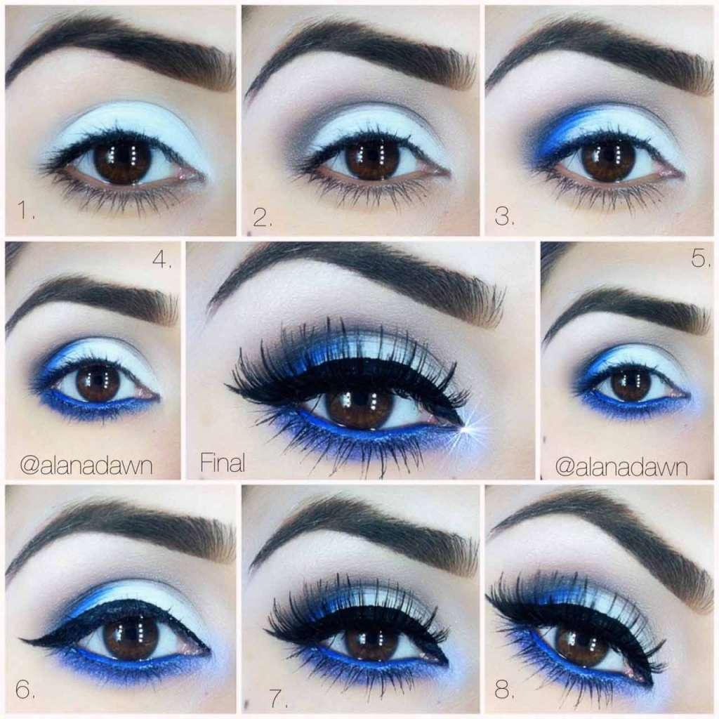 Синяя тушь с синим карандашом в макияже